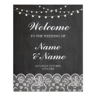 Welcome Poster Sign Wedding Lace & Chalk Poster