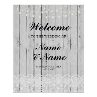 Welcome Poster Sign Wedding Lace Grey Wood Poster