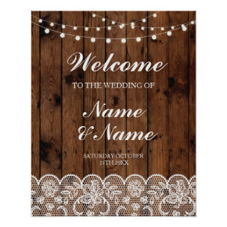 Welcome Poster Sign Wedding Lace & Wood Poster