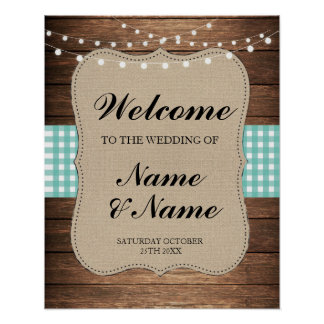 Welcome Poster Teal Check Sign Wedding Wood Poster