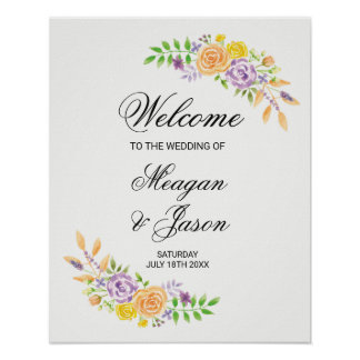 Welcome Poster Wedding Floral Purple Reception