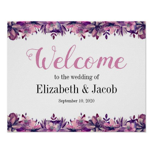 Welcome print Floral wedding sign Purple and pink