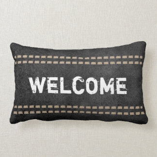 welcome quote pillow rustic chic typography