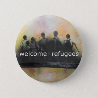 Welcome refugees badge 2 inch round button