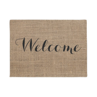 Welcome Rustic Burlap Design Farmhouse Doormat
