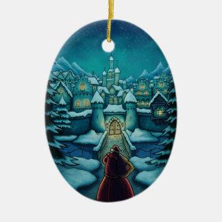 welcome santa holiday ceramic ornament