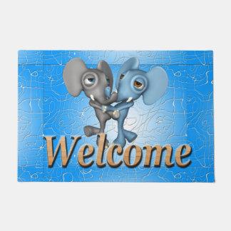 Welcome  Series Cute Elephants Doormat