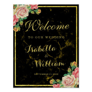 Welcome Sign   Black gold marble rose wedding