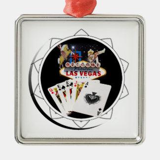 Welcome Sign Black Poker Chip Silver-Colored Square Ornament
