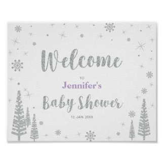 Welcome Sign for Winter Baby Shower, Girl, Purple