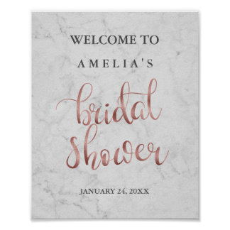Welcome Sign Marble Faux Rose Gold Bridal Shower