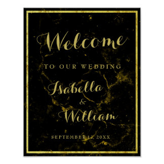 Welcome Sign   Modern  black gold marble Wedding