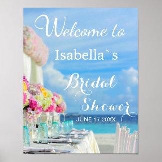 Welcome Sign | Ocean Beach Summer Bridal Shower Poster