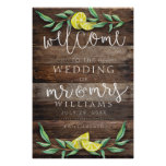 WELCOME SIGN   Rustic Wood Lemon Wedding Poster