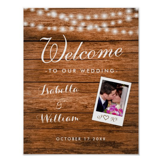 Welcome Sign | Rustic Wood String Lights Photo