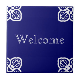 Welcome Sign - Spanish White on Blue Tile