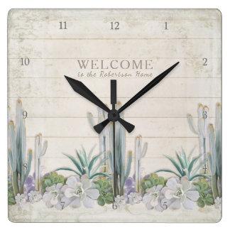 Welcome Sign Vintage Shiplap Wood Desert Cactus Clocks