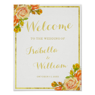 Welcome Sign | White gold rose wedding