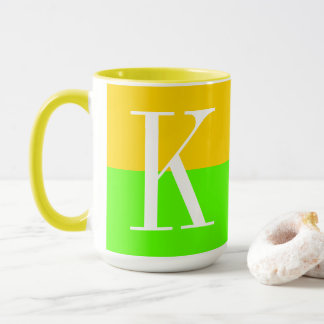 Welcome Summer Modern Stylish Two Tone Monogram Mug