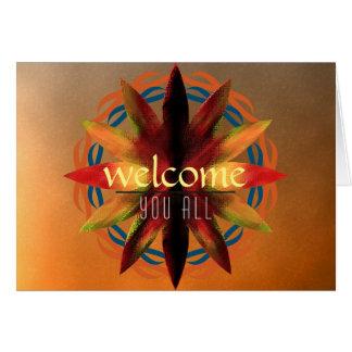 Welcome Sunset Mandala Damask Lotus Flower Clouds Greeting Card