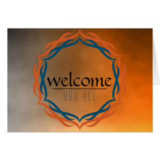 Welcome Sunset Mandala Damask Red Black Clouds Greeting Card