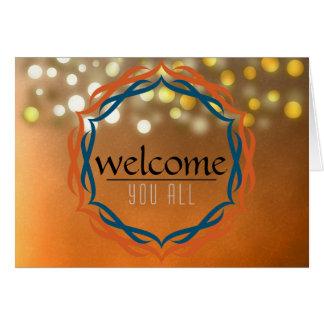 Welcome Sunset Mandala Damask Red Confetti Greeting Card