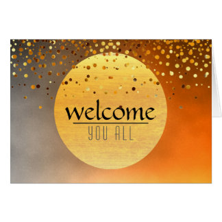 Welcome Sunset Moon Confetti Glitter Greeting Card