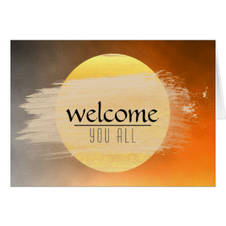 Welcome Sunset Moon with  Watercolor Black Clouds Greeting Card