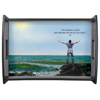 """""""Welcome the Day"""" - Large, Black Serving Tray"""