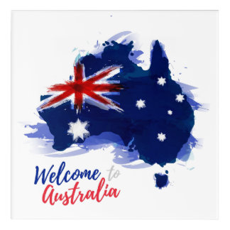 Welcome to Australia | Watercolor Style Acrylic Wall Art