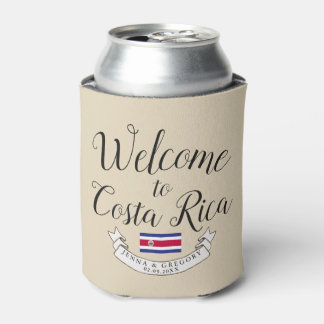 Welcome to Costa Rica | Destination Wedding Custom Can Cooler