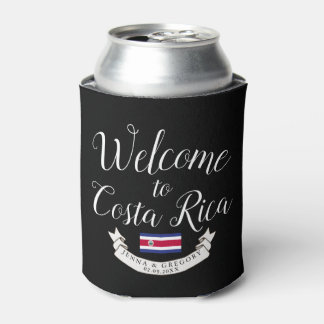 Welcome to Costa Rica   Destination Wedding Custom Can Cooler