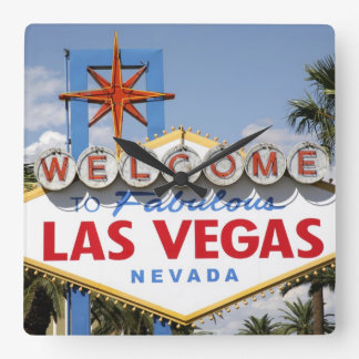 Welcome to Fabulous Las Vegas Nevada Sign Square Wall Clock