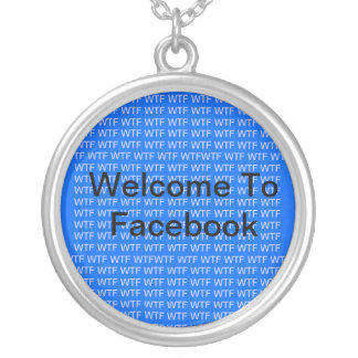 Welcome To Facebook Message Silver Plated Necklace