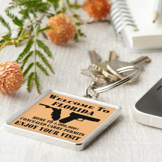 Welcome To Florida Home To 4,000,000+ CCW Permits Silver-Colored Square Keychain
