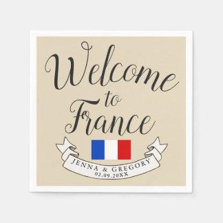 Welcome to France | Destination Wedding Custom Paper Napkin