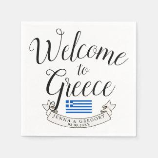 Welcome to Greece | Destination Wedding Custom Napkin