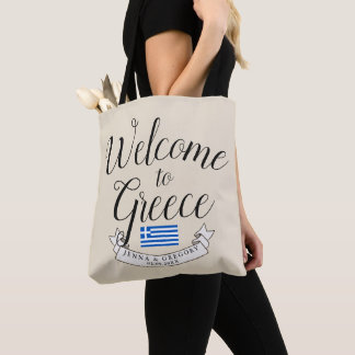 Welcome to Greece | Destination Wedding Custom Tote Bag