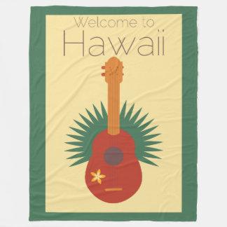 Welcome To Hawaii Ukulele Retro Fleece Blanket