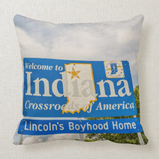 Welcome to Indiana Sign Throw Pillow