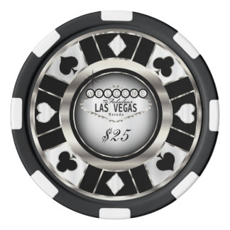 Welcome to Las Vegas - Black, Silver and White Poker Chips Set