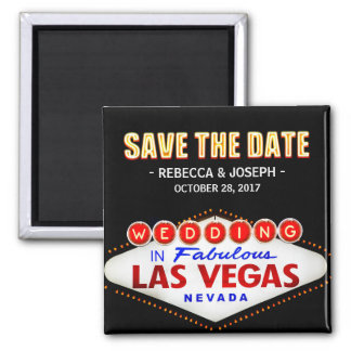 Welcome to Las Vegas Neon Sign - Save the Date Square Magnet