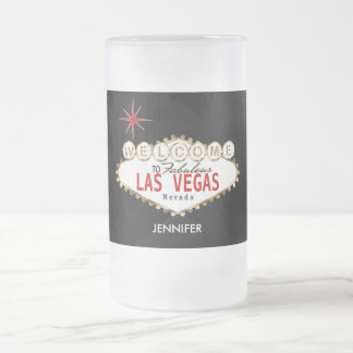 Welcome to Las Vegas - Red and Gold Frosted Glass Beer Mug