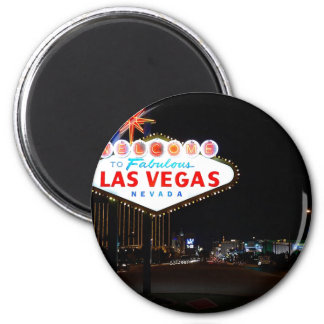 Welcome To Las Vegas Sign Illuminated At Night Magnet