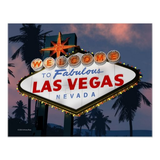 Welcome to Las Vegas Sign Night Retro Poster Print