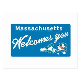 Welcome to Massachusetts - USA Road Sign Postcard