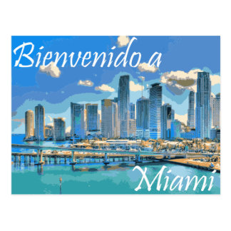 Welcome to Miami Spanish Paint Effected Image Postcard