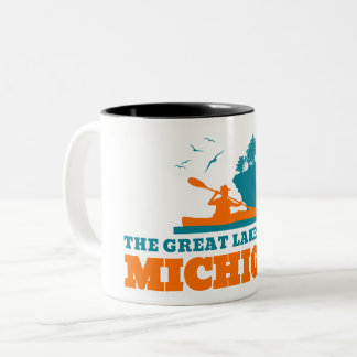 Welcome to Michigan (MI) - Color Logo Two-Tone Coffee Mug