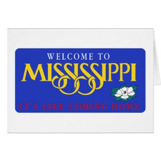 Welcome to Mississippi - USA Road Sign Card