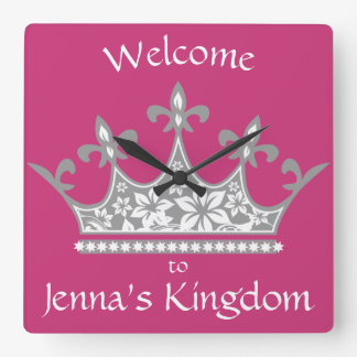 """""""Welcome to My Kingdom"""" Princess Crown Pink Square Wall Clock"""